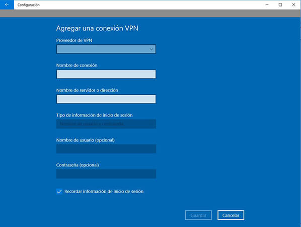 Cómo configurar VPN en Windows10
