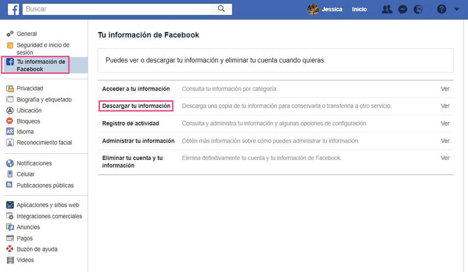 Facebook - Descarga datos