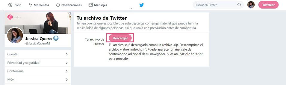 Twitter - Enlace descarga