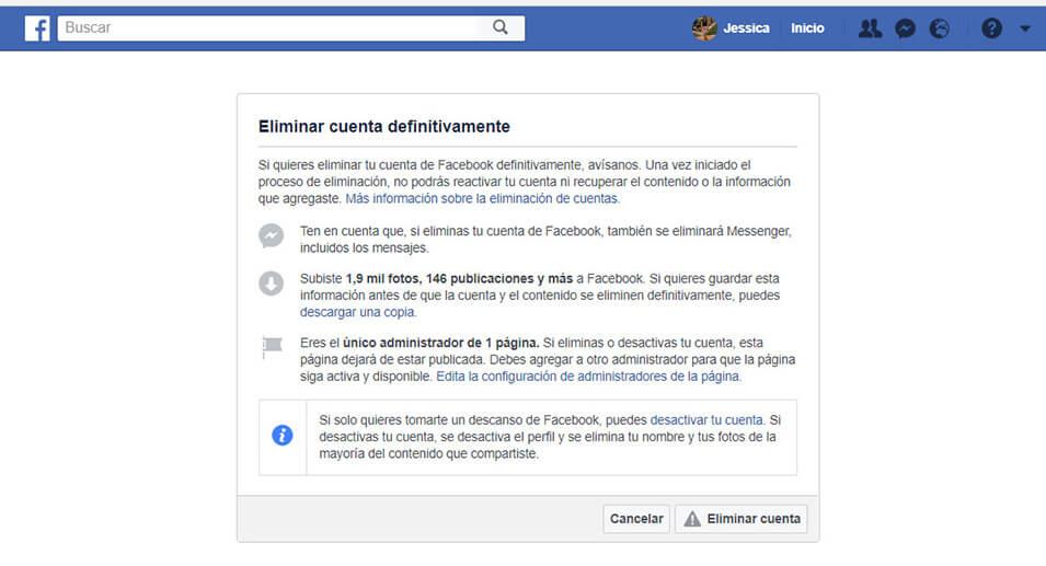 Eliminar datos y cuenta de Facebook