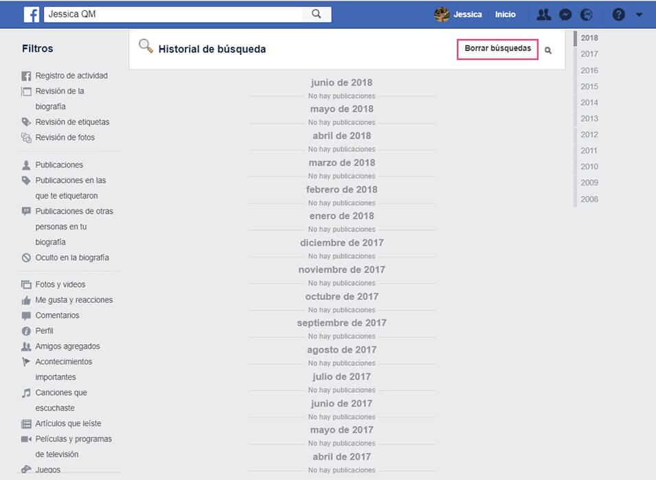 Eliminar historial Facebook