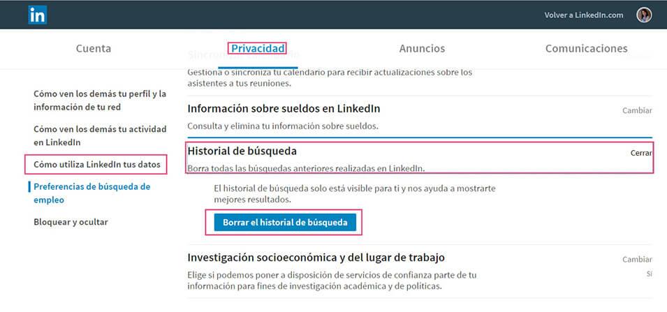 Eliminar historial LinkedIn