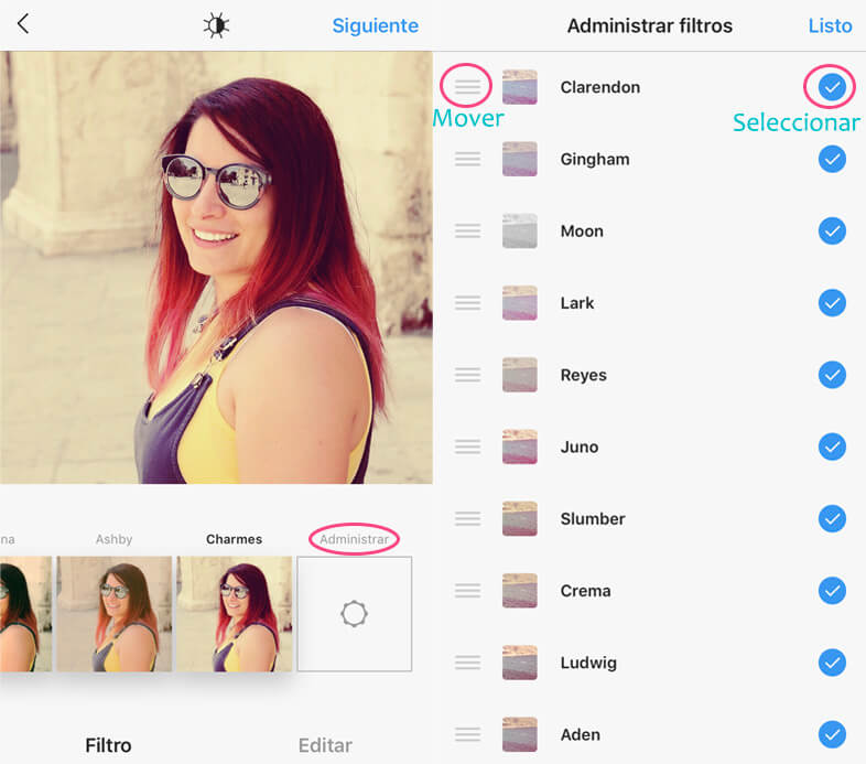Organizar filtros Instagram