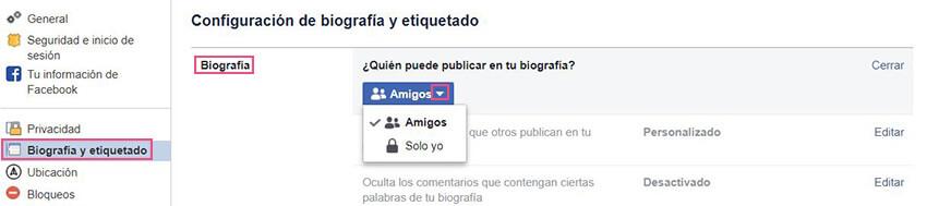 Biografía y etiquetado Facebook - Biografía