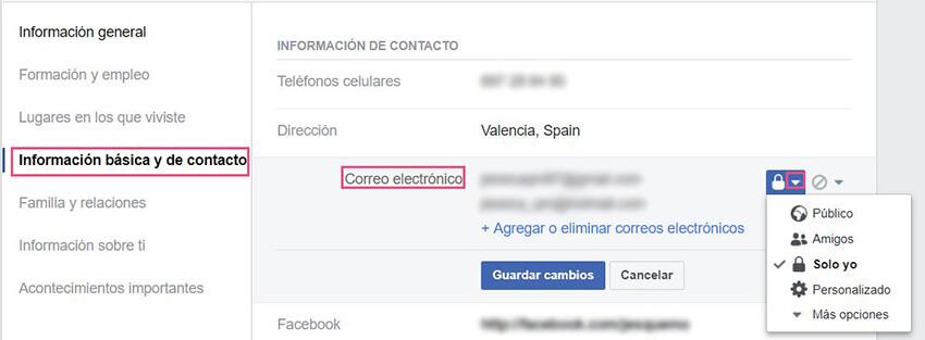 Información básica Facebook - Email