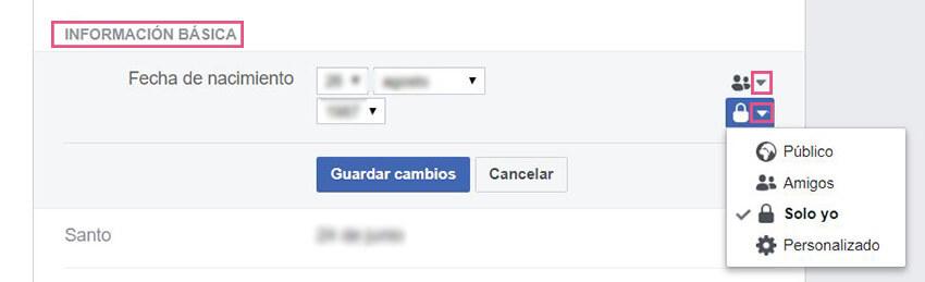 Información básica Facebook - Fecha nacimiento