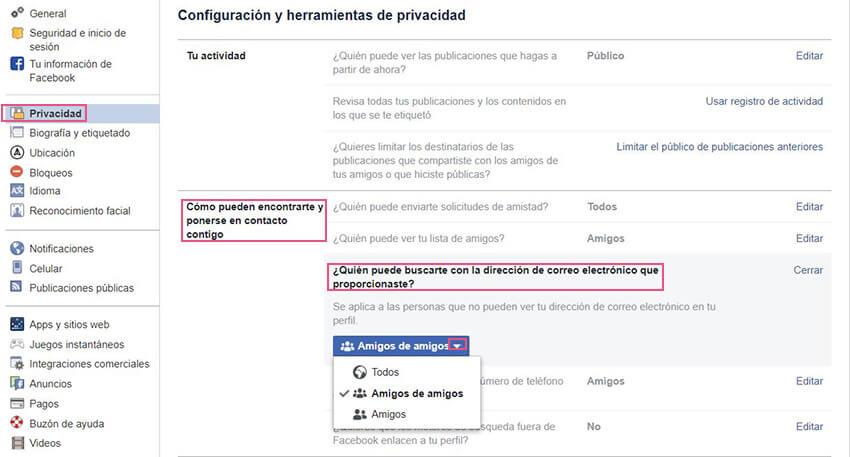 Privacidad Facebook - Amigos por email