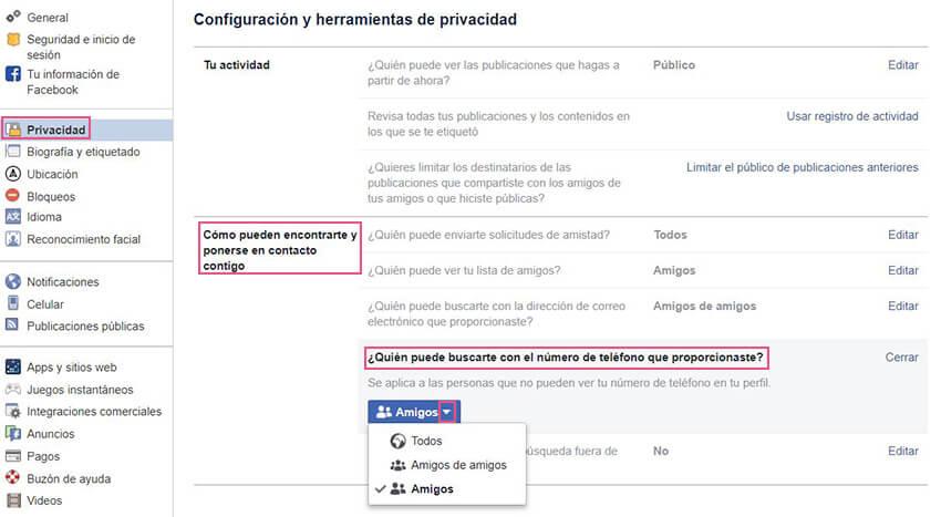 Privacidad Facebook - Amigos por teléfono