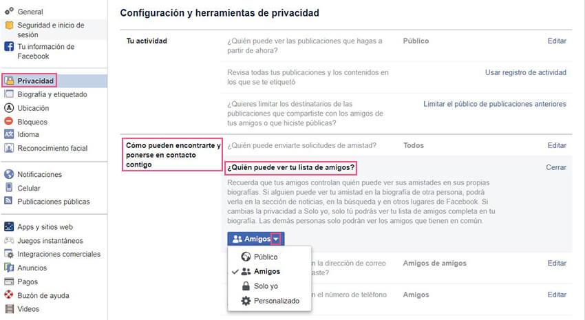 Privacidad Facebook - Lista amigos