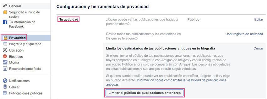 Privacidad Facebook - Publicaciones anteriores