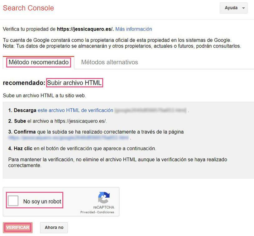 Verificar url Search Console