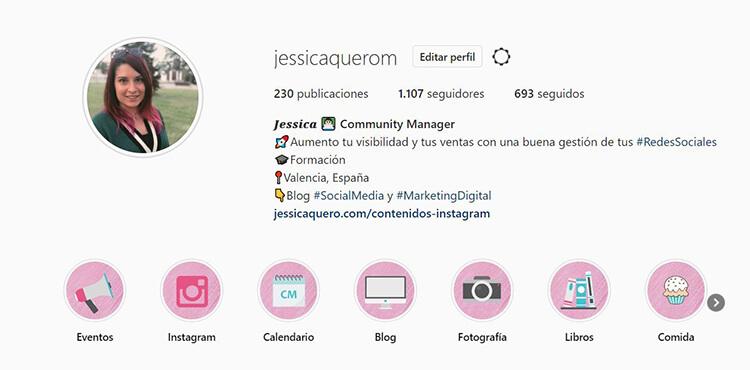Biografía de Instagram - Jessica Quero