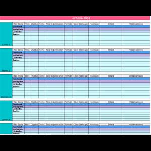 Excel Calendario Editorial para Redes Sociales