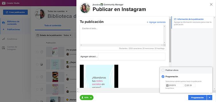 Programar Instagram - Creator Studio