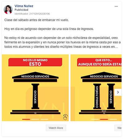 Anuncio en Instagram carrusel - Vilma Núñez
