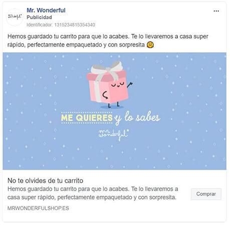 Anuncio en Instagram retargeting - Mr Wonderful
