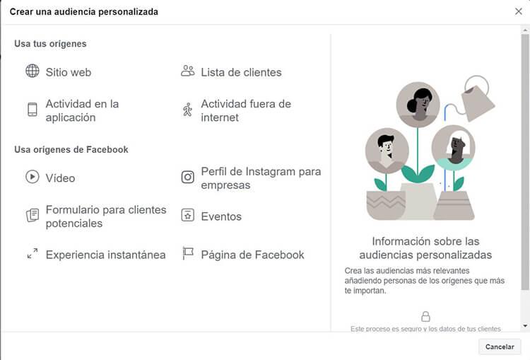 Segmentación Facebook Instagram - Público personalizado